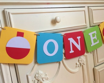 The Big ONE Fishing Birthday Banner Highchair banner One Bobber Fish Theme Primary colors Bright Little Fisherman Smash cake Photo Prop