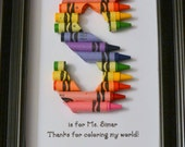 FAST SHIPPING! 5 x 7 Framed Teacher Gift - Personalized Crayon Letter