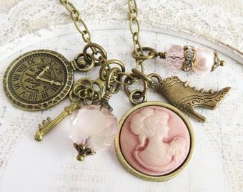 Pink cameo necklace, charm necklaces, victorian style jewelry, gift for her, romantic jewelry, Renaissance style jewelry, vintage inspired