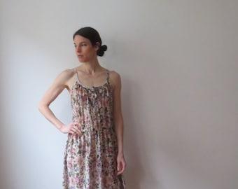 Vintage '70s Romantic Bohemian, Nearly Sheer Gauzy Floral Tank Dress, Small - Medium