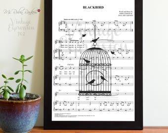 The Beatles, Blackbird, on Song  Music Sheet, Art Print