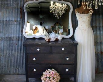H O L L Y W O O D, White Painted Mirror, French Provencal Mirror,