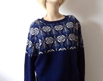 1960s Wool Sweater vintage fair isle knit pullover crew neck by Brooks Brothers