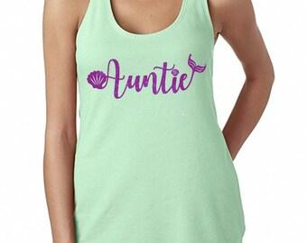 Mermaid Auntie purple glitter mint women's tank