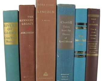 Vintage  Blue Brown Decorative Books ,  Farmhouse, vintage books , old books , vintage book bundle , photo prop , wedding decor , book decor