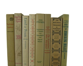 Shades of  Tan  Taupe   Vintage Decorative Books Book Decor