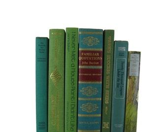 Green Book Set, Vintage Decorative Books,  Decorative Books, Country Home  Decor, Vintage Books,  Wedding Decor,  Holiday, Photo Prop