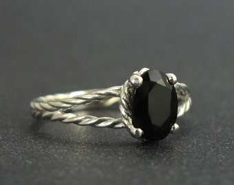 Black oval onyx twisted rope engagement ring, White gold rope ring and black gemstone, Oval onyx gemstone ring, Twisted rope engagement ring