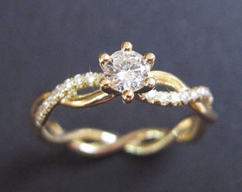 Diamond Infinity Love Engagement Ring, Infinity Engagement Ring, Braided Rope Diamond Engagement Ring, Infinity Yellow Gold Engagement Ring
