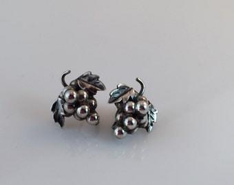 Sterling Silver Earrings, Grape Cluster Earrings, Vintage Jewelry, Screwback Earrings