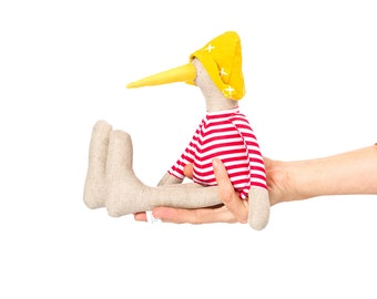 Textile bird doll , Linen SMALL bird , soft duck doll , cosy soft animal , decorative doll , rag doll , plush chick duck ,Stuffed bird doll