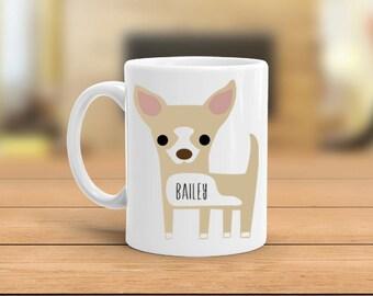 Personalized Chihuahua mug, custom name chihuahua coffee mug, 11 oz or 15 oz, microwave safe, dishwasher safe, gift for her, gift for him