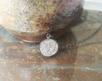 Silver Druzy Necklace in Oxidized Silver