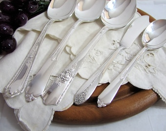 Art Deco 5-Pc Hostess Set #28, Mismatched Silverplate Flatware, Antique Serving Spoons, Butter, Sugar, Vintage Silver Plate Serving, Fine