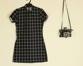 SALE Black and White Grid Print Dress Stretch Super Mini with High Neck