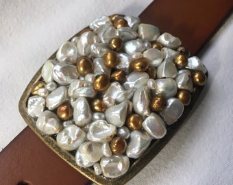 White and Bronze Pearl Belt Buckle