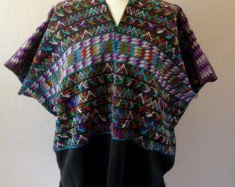 Guatemalan huipil elegant poncho blouse BLACK  multi-color handwoven cotton fringed over-tunic boho Frida Kahlo
