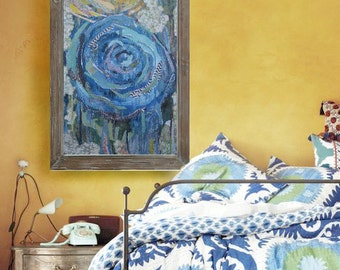 Blue Rose cardstock art print. Mixed media collage with yellow.
