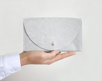 Clutch Wallet Silver, Leather Clutch, Secretary Wallet, Big Leather Wallet