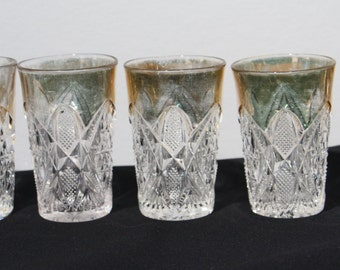 Antique U. S. Glass Co., Pennsylvania Pattern (#15048) Juice Glasses with Gold Trim