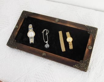 Valet Tray, Velour Base, Jewelry Organizer, Wooden Tray, Trinket Tray, Man Valet Tray, Key Storage, Coins, Cell phone, Glasses, Catchall