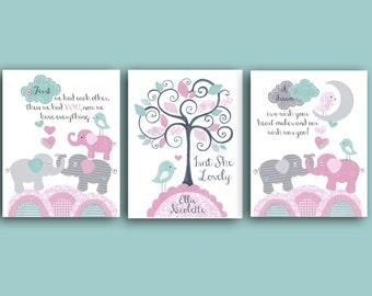 ELEPHANT NURSERY ART set, pink aqua white, Baby girl nursery, girls room decor, elephant bedding turquoise, 8x10 set of 3, First we had each