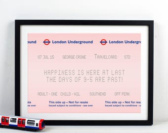 Retirement Gift, London Print, Personalised Print, Retirement Print, London, Travel, London Poster, Art, Gift For Him, Retirement, Quote