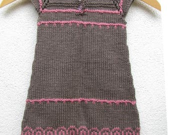 knit toddler fair isle dress, little princess dress size 18-24 months, cocoa and rose OOAK