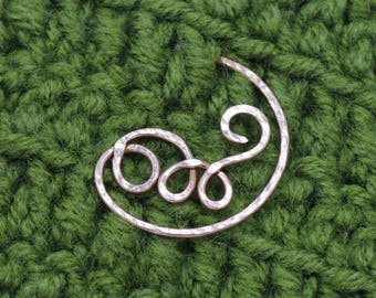 Spiral Sweater Pin Shawl Pin Scarf Pin Sterling Brooch Spiral Shawl Pin Silver Pin Brooch Silver Brooch Knitted Accessories Safety Pin 925