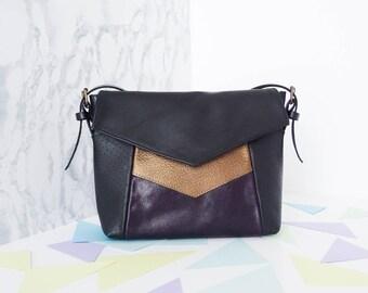 Small graphic bag / Color block leather, Black / Purple