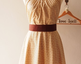 Fall Charm :Skater Dress Sundress, Light Brown Floral Dress, Beige Tea Dress,Brown Bridesmaid Dress, Vintage Inspired, - LOVE SPELL -custom