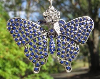 BLUE FLIGHT BUTTERFLY Tree Jewelry Christmas Ornament  Jewelry Blue
