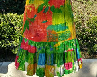 Bright tropical Hawaiian print mini short skirt / Jams World vintage 90s  L / batik tiki beach rayon