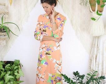 Vintage Oriental Hostess Dress, Peachy cherry blossom 60s 70s Deadstock maxi dress, Medium 4074