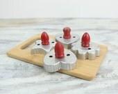 Vintage Aluminum, Cookie Cutters w/ red wood handles (set of 4).