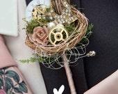 Vintage style, rockabilly, alternative steampunk, birdcage, cogs, birds nest, grooms buttonhole, Wedding corsage, boutonierre
