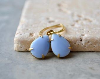 Light Blue Earrings, Blue Teardrop Earrings, Gold Vermeil Dangle Earrings, Vintage Glass Jewelry, Baby Blue Drop Earrings, UK, Gift for Her