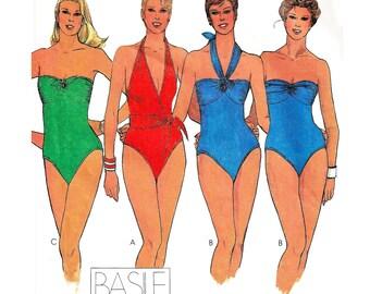 "1988 BASILE Sportswear Swimsuit Designs, Maillot/Bandeau or Halter Neckline 1 pc Bathing Suits, Hign Cut Legs, McCall's 7109, Bust 34"" Uncut"