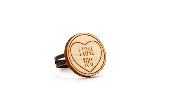 "Ring with heart and message ""I love you"" - romantic jewelry - graphic jewellery - Valentine's gift - engagement ring - lasercut maple wood"