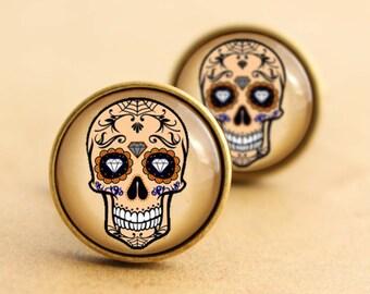 Sugar Skull Cufflinks - Diamond, Halloween Day of the Dead, Rockabilly Cufflinks, Tattoo Cufflinks, Sugarskull, Wedding, Groom, Bronze