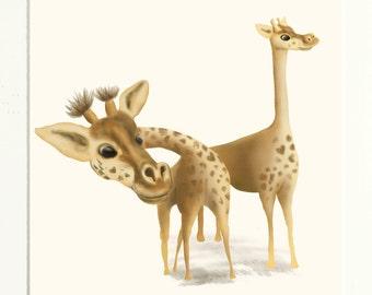 Giraffes-  Mounted Print of Giraffes
