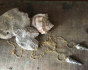 Faceted Dalmation Jasper Brass Hoop Geometric Pendulum Necklace