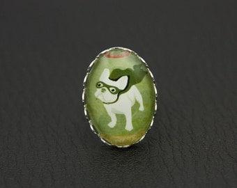 French Bulldog ring, super dog ring, cute dog, funny ring, (1825)