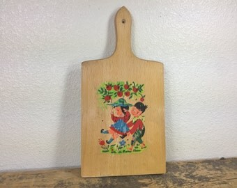 Vintage Alcco Wooden Painted Cutting Board Wall Hanging Children Flowers