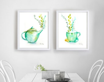 Tea Print Set, Set of 2 Prints, Tea Art, Tea Wall art, Teacup Art, Teapot Art, Kitchen Watercolor, Kitchen Painting, Kitchen Wall Art