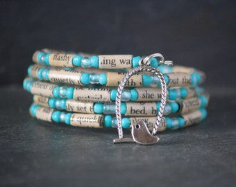 I Know Why the Caged Bird Sings, Maya Angelou, recycled book jewelry, recycled book bracelet, spiral wrap bracelet, book lover gift,