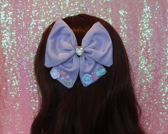 Fairy Kei Sweet Lolita Kawaii Dreamy Kitten Lilac Twin Tail Hair Bow