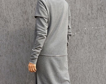 New Grey Extravarant Maxi Zipper Hoodie / French Terry Cotton / Side Pockets Jacket by Aakasha A08604