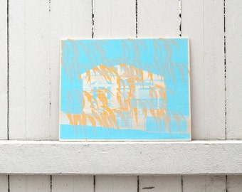 screen print onto plywood panel, limited edition Australian artwork, gift idea, queenslander house