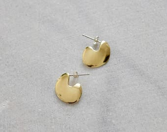 Gold Statement Studs Organic Earrings Gold Statement Earrings